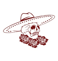 Day of The Dead Skull with flowers and sombrero vector image
