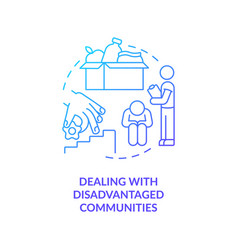Dealing with disadvantaged communities concept vector