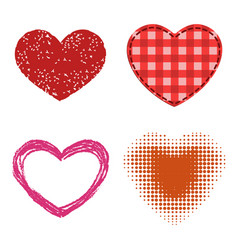 Differents style red heart icon isolated vector