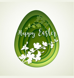 Easter postcard with cut green colored paper egg vector