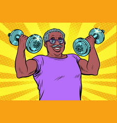 elderly african man lifts dumbbells fitness sport vector image