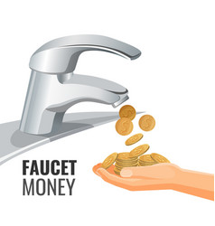 faucet money promo banner with golden coins from vector image