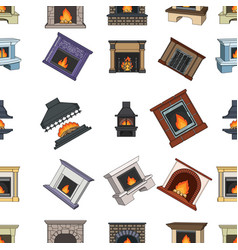 fire warmth and comfort fireplace set collection vector image