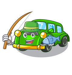 fishing classic car in shape mascot vector image