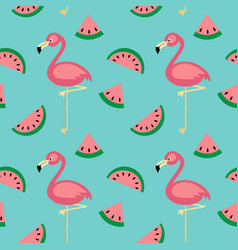 Flamingowatermelon seamless pattern vector