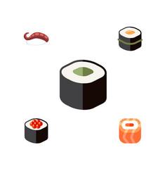 Flat icon sushi set of japanese food sashimi vector