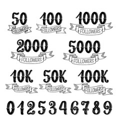 Followers quantity numbers lettering icons vector