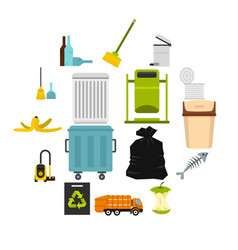 garbage thing set flat icons vector image