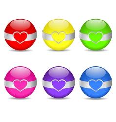 Glossy heart spheres vector