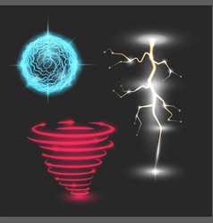 Glowing magic lightning set energy ball neon vector