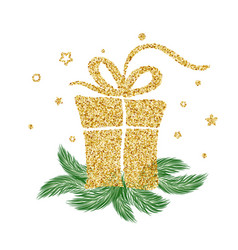 gold vintage gift for christmas holidays vector image