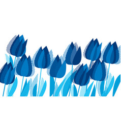 graphic tulip flowers in monochrome blue color vector image
