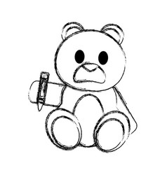 Grunge bear teddy cute toy with crayon vector
