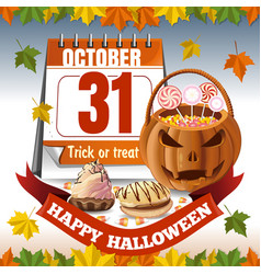 Halloween calendar and a basket with candies vector