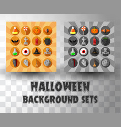 halloween circle flat icons set with different vector image