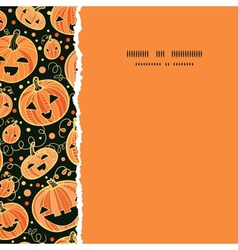 Halloween pumpkins square torn frame seamless vector image