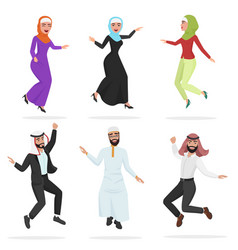 Happy group of cute arab people jumping cartoon vector