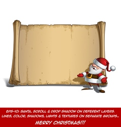 Happy Santa Scroll Inviting with Open Hands vector image