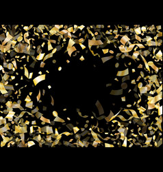 holiday realistic gold confetti flying on black vector image