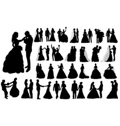 Isolated large set silhouettes wedding the vector