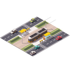 Isometric tram station vector