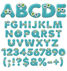 Jelly alphabet numbers and characters with eyes vector