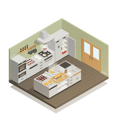 Kitchen isometric composition vector