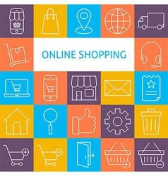 Line Art Modern Online Shopping Icons Set vector