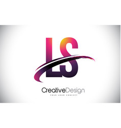 Ls l s purple letter logo with swoosh design vector