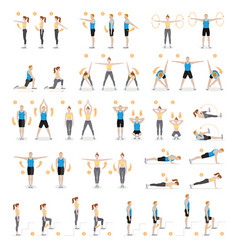Man and woman workout fitness aerobic and vector