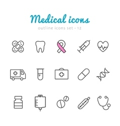 medical outline icons vector image