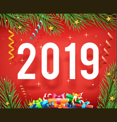 new year 2019 symbol icon confetti ribbons vector image