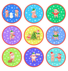 New year pig decorating pine tree and giving gift vector