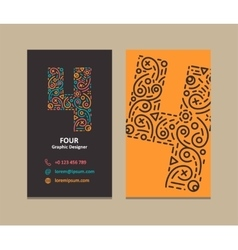 Number 4 Logo Business card vector