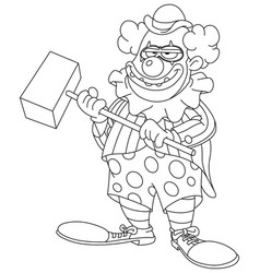 Outlined evil scary clown vector