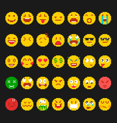 pixel emoticon set vector image
