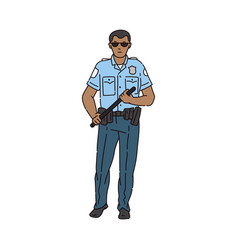 policeman or secure guard with rubber club sketch vector image