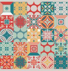 Portuguese azulejo tiles seamless pattern vector