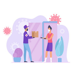 quarantine visual advisor courier delivers parcel vector image