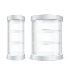 realistic detailed 3d empty transparent showcase vector image