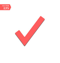 red check mark icon tick symbol in red color vector image