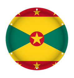 Round metallic flag of grenada with screw holes vector