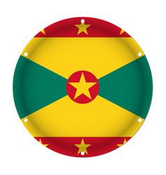 Round metallic flag of grenada with screw holes vector