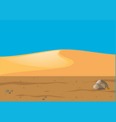 Scene with desert field and hills vector