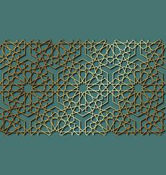Seamless islamic pattern gold line persian motifs vector