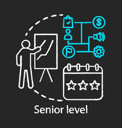 Senior level chalk icon profession level top vector