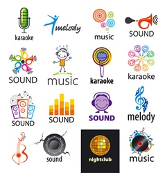 set logos music and sounds vector image