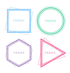 set of geometric line frames in different colors vector image