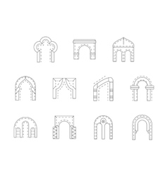 Set of stone archway flat line icons vector image