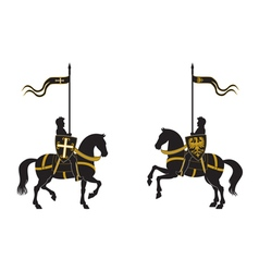 Silhouettes two knights vector
